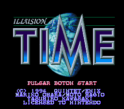 Illusion of Time (Spain) Title Screen