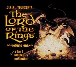 J.R.R. Tolkien's The Lord of the Rings - Volume One (Germany) Title Screen