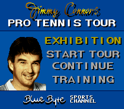 Jimmy Connors Pro Tennis Tour (Europe) Title Screen