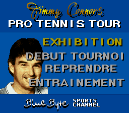Jimmy Connors Pro Tennis Tour (France) Title Screen