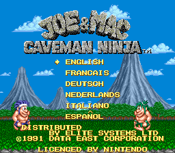 Joe & Mac - Caveman Ninja (Europe) (En,Fr,De,Es,It,Nl) Title Screen