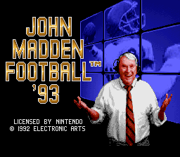 John Madden Football '93 (Europe) Title Screen
