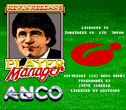 Kevin Keegan's Player Manager (Europe) Title Screen