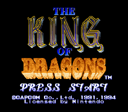 King of Dragons, The (Europe) Title Screen