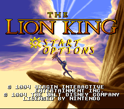 Lion King, The (USA) Title Screen