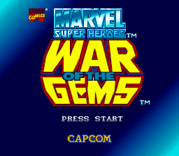 Marvel Super Heroes - War of the Gems (Europe) Title Screen
