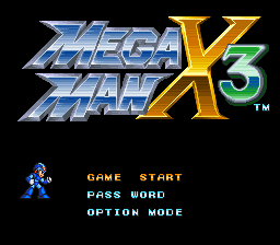 Megaman X3 (Europe) Title Screen