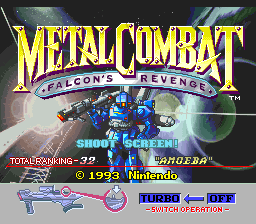 Metal Combat - Falcon's Revenge (USA) Title Screen