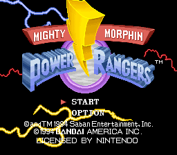 Mighty Morphin Power Rangers (Europe) Title Screen