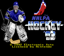 NHLPA Hockey '93 (Europe) Title Screen