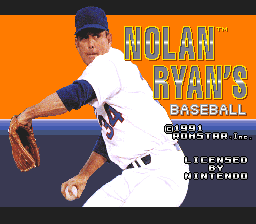 Nolan Ryan's Baseball (USA) Title Screen