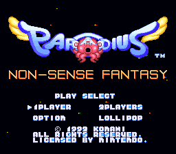 Parodius - Non-Sense Fantasy (Europe) Title Screen