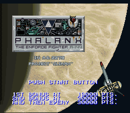 Phalanx - The Enforce Fighter A-144 (Europe) Title Screen