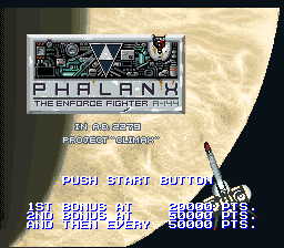 Phalanx - The Enforce Fighter A-144 (USA) (Beta) Title Screen