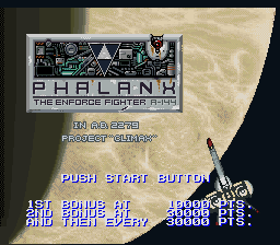 Phalanx - The Enforce Fighter A-144 (USA) Title Screen