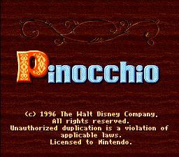 Pinocchio (USA) Title Screen