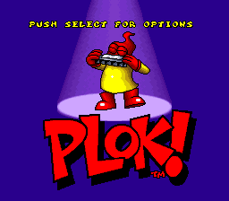 Plok! (Europe) Title Screen