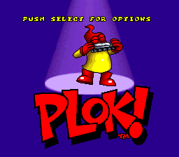 Plok! (USA) Title Screen