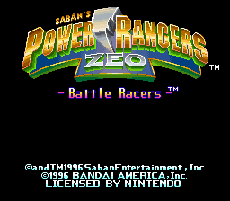 Power Rangers Zeo - Battle Racers (Europe) Title Screen