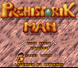 Prehistorik Man (USA) Title Screen