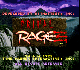 Primal Rage (Europe) Title Screen