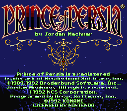 Prince of Persia (Europe) Title Screen