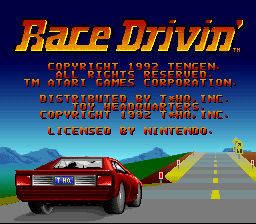 Race Drivin' (USA) Title Screen