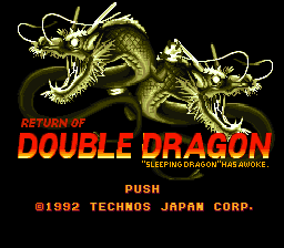 Return of Double Dragon (Japan) Title Screen