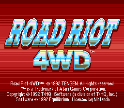 Road Riot 4WD (USA) (Beta) Title Screen