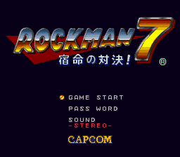 Rockman 7 - Shukumei no Taiketsu! (Japan) Title Screen