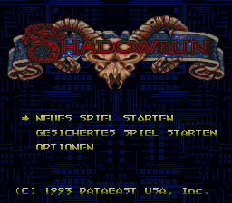 Shadowrun (Germany) Title Screen
