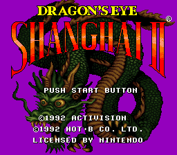 Shanghai II - Dragon's Eye (USA) Title Screen