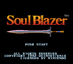 Soul Blazer (USA) Title Screen