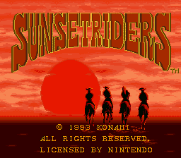 Sunset Riders (Europe) Title Screen