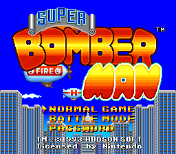 Super Bomberman (USA) Title Screen
