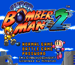 Super Bomberman 2 (USA) Title Screen