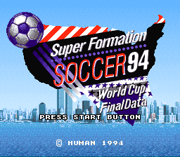 Super Formation Soccer '94 - World Cup Final Data (Japan) Title Screen