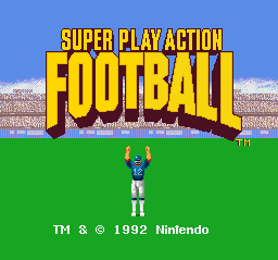 Super Play Action Football (USA) Title Screen