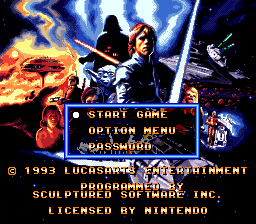 Super Star Wars - The Empire Strikes Back (Europe) Title Screen