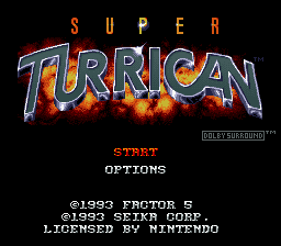 Super Turrican (USA) Title Screen