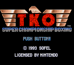 TKO Super Championship Boxing (Europe) Title Screen
