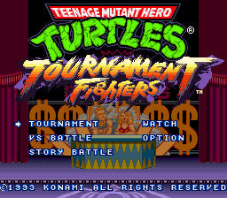 Teenage Mutant Hero Turtles - Tournament Fighters (Europe) Title Screen
