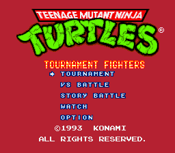 Teenage Mutant Ninja Turtles - Tournament Fighters (USA) (Beta) Title Screen