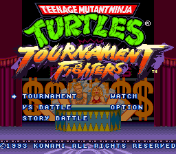 Teenage Mutant Ninja Turtles - Tournament Fighters (USA) Title Screen