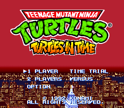 Teenage Mutant Ninja Turtles - Turtles in Time (Japan) Title Screen