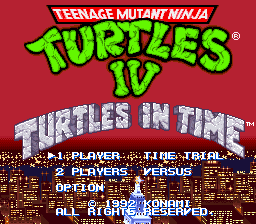 Teenage Mutant Ninja Turtles IV - Turtles in Time (USA) (Beta) Title Screen