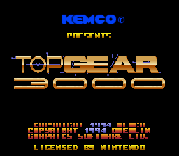 Top Gear 3000 (USA) Title Screen