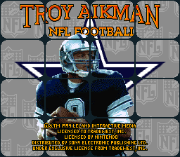 Troy Aikman NFL Football (Europe) Title Screen