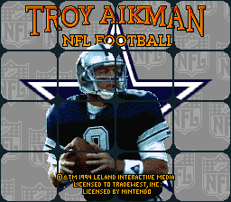 Troy Aikman NFL Football (USA) Title Screen