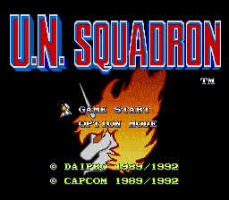 U.N. Squadron (Europe) Title Screen